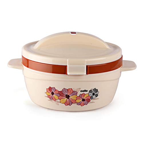 Cello Flip Top Plastic Casserole with Lid, 1.5 Liters, Ivory/Brown
