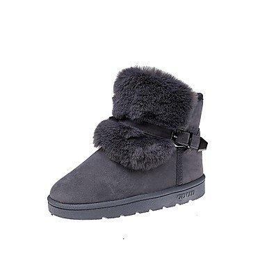 ZHENG Women039;s Shoes PU Fall Winter Snow Boots Boots Flat Heel Round Toe for Casual Party /& Evening Brown Gray BlackGrayUS8//EU39//UK6//CN39