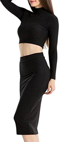 Cruiize Des Femmes De Manches Longues Style Haut Cou Survêtement Robes Moulantes Noir