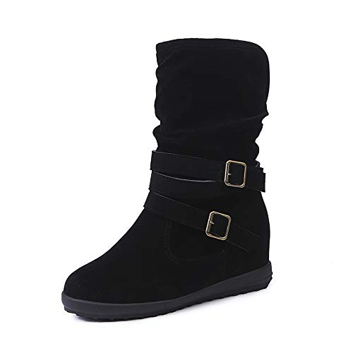 Duseedik Ankle Bootie, Ladies Womens Low Wedge Buckle Biker Ankle Trim Flat Ankle Boots Shoes