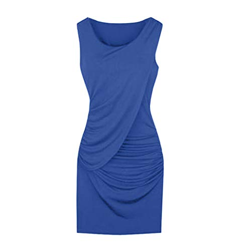 iLOOSKR Womens Party Dress Plus Size Elegant Summer Fashion Sleeveless Solid Color Dress ()