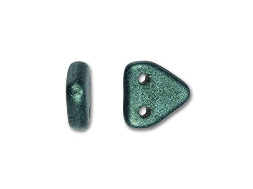 CzechMates Glass 6mm Metallic Light Green Suede Two-Hole Triangle Bead Pack (50pc Pack)