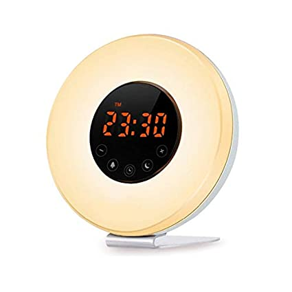 Erwa Despertador Sunrise Reloj Digital LED Despertador Luz Nocturna con 7 Colores Cambiantes 6 Sonidos De