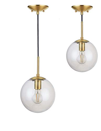 Brass Pendant Stem - Doraimi 1-Light Modern Simple,Stem Hanging Pendant,Dyed Antique Brass Finish with Tawny Glass Shade for Bar, Dining Room, Corridor,Living Room. LED Bulb(not Include) -Dia 8