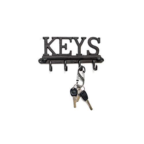 Wall Hooks Heavy Duty, Cast Iron Hook Rack, Wall Mounted 4 Hook Key Holder for Villa Courtyard, Premium Golden Age Iron Hook for Coat, Creative Home Decorations (Keys) TA BEST