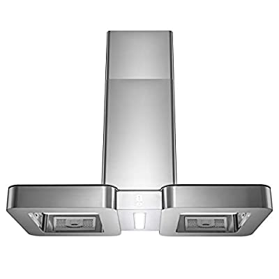 """Golden Vantage 38"""" Island Mount Range Hood with LED Light in Stainless Steel and Tempered Glass"""