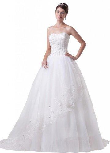 Damen Brautkleider Ausschnitt Kleidungen A Dearta Herz Linie Elfenbein Schnuerung Schleppe Pinsel Aermellos Tuell TqfSd6wdxO