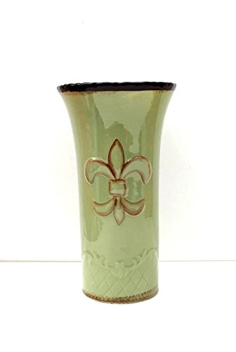 Tuscany Colorful Hand Painted Fleur De Lis Green Vase, 82073 by ACK
