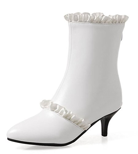 Aiguilles Talons Chic Femme Bottines Pointu Bout Aisun Dentelle Blanc xqYXTOww1U