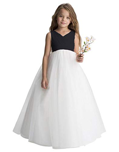 Gdoker Tulle Flower Girl Dress, Chiffon Wedding Party Pageant Dresses for Girls, Long Junior Bridesmaid Dress A-Line ()