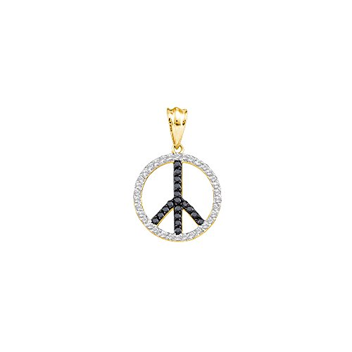 14kt Yellow Gold Womens Round Black Colored Diamond Peace Sign Circle Pendant 3/4 Cttw (I2-I3 clarity; Black color)