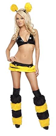 J. Valentine Women's Honey Bee Costume, Black/Yellow, Medium/Large