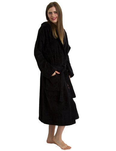 ry Hooded Bathrobe - 100% Natural Cotton, Hooded Terry Velour Robe for Women and Men, Black, Small/Medium ()