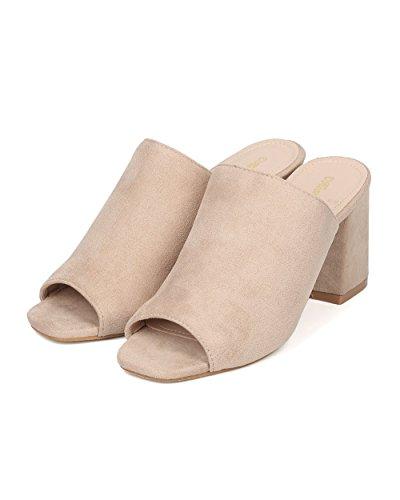 Njuta Kvinnor Blockera Häl Mule - Peep Toe Chunky Häl Slide - Öppen Tå Slip På Häl Sandal - Ciara-10 Genom Heart.thentic Samling Beige Faux Mocka