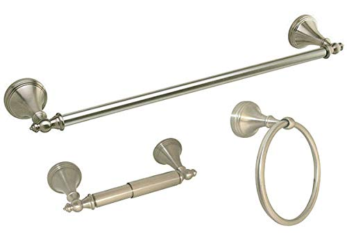 Glob Shop Satin Nickel Bath Room Accessorie Hardware 3PC Combo 18'' Towel Bar Ring Holder