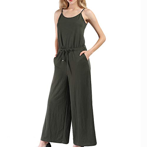 Vero Viva Womens Summer Loose Spaghetti Strap Drawstring Jumpsuit Wide Leg Pants
