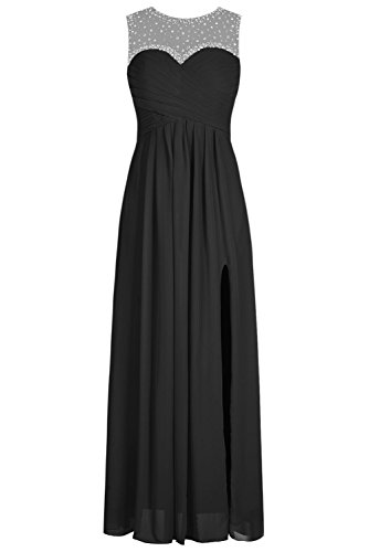 Bbonlinedress Vestido De Fiesta Largo Sin Mangas Espalda Transparente Negro