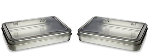Rectangular Tin Box with hinged window lid 5.5 X 3.7 set of 2 storage for small items (Tin Plastic)