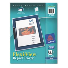 Flexi-View Cover, Swing Clip, Letter, Holds 25 Pages, Clear/Navy, 2/Pack