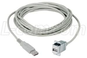 USB Type A Receptacle USB 2.0 305 mm 1 ft ECF504-12AAS ECF504-12AAS Grey USB Type A Plug USB Cable Pack of 2