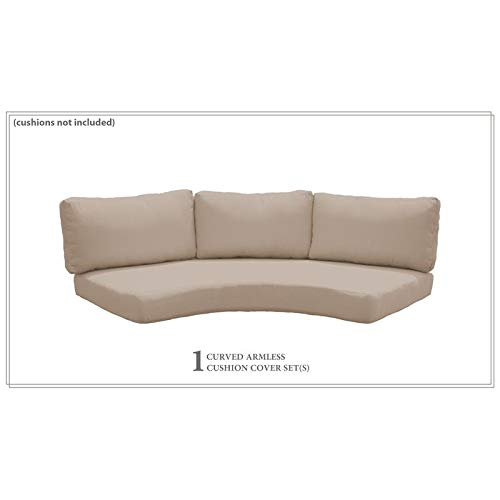 TK Classics Covers for Low-Back Curved Armless Sofa Cushions 6 inches Thick