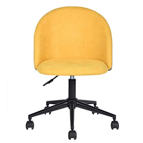 HOMY CASA Office Chair Ergonomic Backrest and Seat Mid-Back Adjustment Computer Armrest Velvet Chair -Yellow Grey