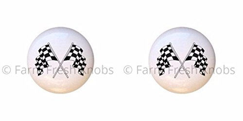Racing Ceramic - SET OF 2 KNOBS - Crossed Checkered Flags - Racing Race Cars - DECORATIVE Glossy CERAMIC Cupboard Cabinet PULLS Dresser Drawer KNOBS