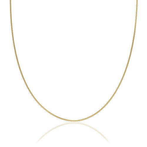 2mm thick 18K gold plated on solid sterling silver 925 stamped Italian diamond cut FLAT CURB link chain necklace bracelet anklet with spring ring clasp jewellery jewelry - Available in lengths: inch 6