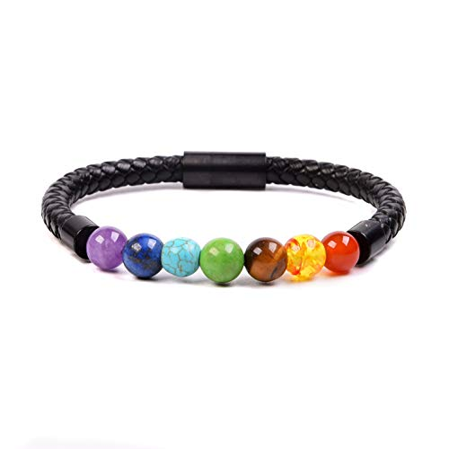 RIVERTREE Beaded Leather Braided Bracelet 7 Chakra Balancing Healing Anti Anxiety Calming Genuine Top Grain Rope Wristbands Stainless Steel Magnetic Clasp for Men ()