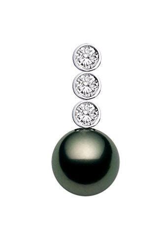 Diamonds 12mm Tahitian Pearl Pendant - 18k White Gold AAAA Quality Black Tahitian Cultured Pearl Pendant with Diamonds (12-13mm)