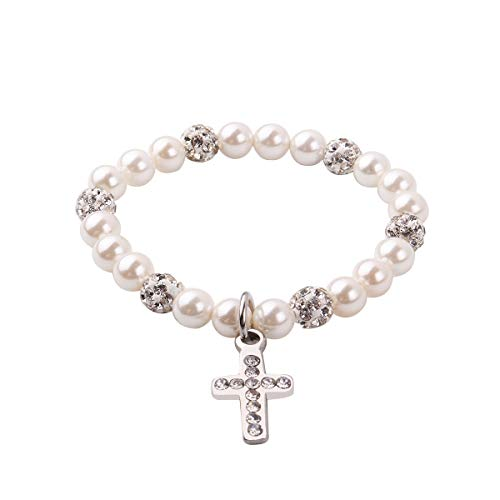 - RUNXINTD Baby Girl Gift Cross Bracelet Baptism Jewelry Nature Pearl Bracelet Prayer Religious Christian Gifts (5-11 Years old)