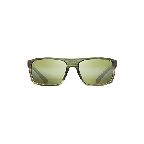 Maui Jim Byron Bay HT746-15MR | Polarized Matte Green Stripe Rubber Wrap Frame Sunglasses, Blue Hawaii Lenses, with Patented PolarizedPlus2 Lens Technology ()