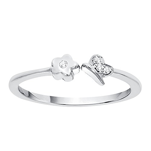 Diamond Accent Flower and Butterfly Fashion Ring in Sterling Silver (GH Color, I2-I3 Clarity) (Size-7) by KATARINA