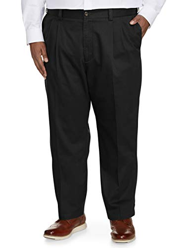 Amazon Essentials Men's Big & Tall Relaxed-fit Wrinkle-Resistant Pleated Chino Pant fit by DXL, Black, 54W x 28L