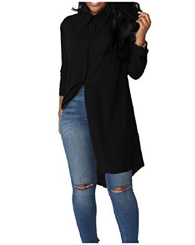 HEFASDM Camisas Slim Button feminino supérsei blusa irregular Chiffon Maxi e camisas Midi Black L