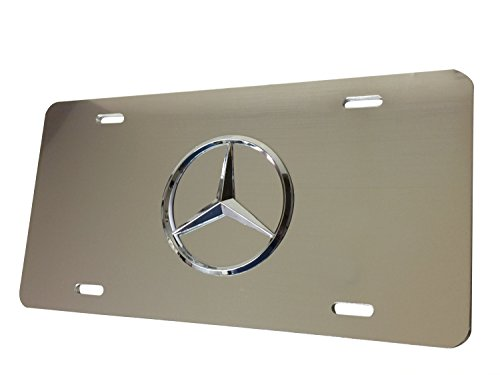 (Mercedes Benz Chrome Logo on Mirror Chrome Stainless Steel Front License Plate with Caps CLA CLS C E S SL SLK GL)