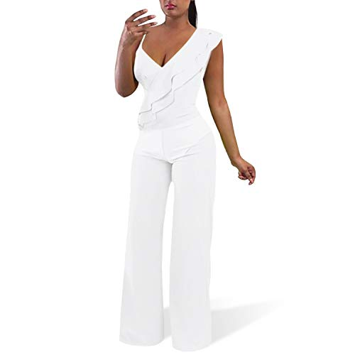 Cosics White Jumpsuit with Wide Legs (Size: 12W-14W)