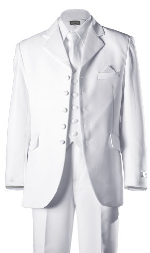 Boys 5 Button First Holy Communion Suit - White (Boys 10) by BJK