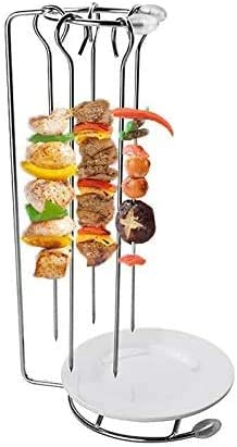Ramoni BBQ Stand,Portable Stainless Steel BBQ Skewers Needle Rack Grill Holder For Camping Gathering Party Chicken Duck Roasting