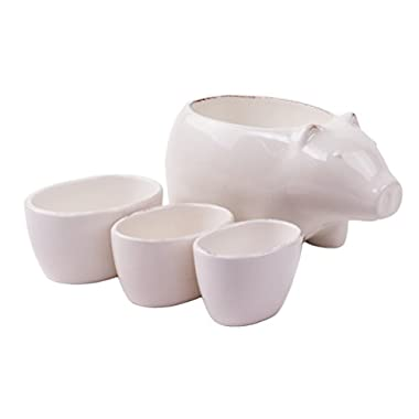 Farmhouse White Porcelain Pig Measuring Cup