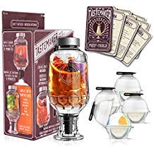 Cocktail Shaker Infuser Set, Active Infusion, Be an Infused Alcohol Cocktail Mixologist using the 10 Homemade Flavored Recipes + 4 Round Ice Ball Molds, Best Home Bar Kit, a Great Gift Item!