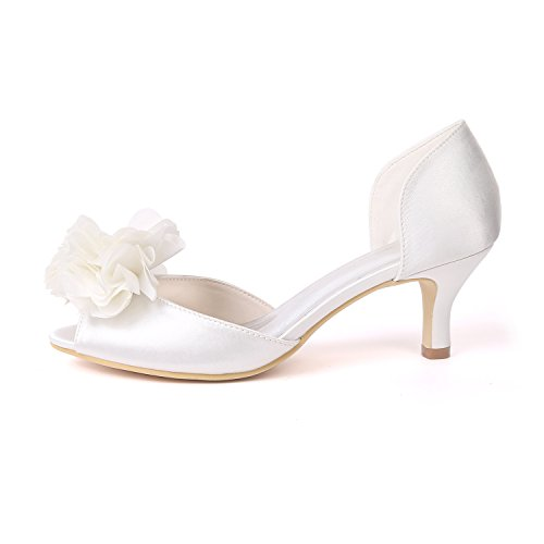 Ager Ivoire Femmes 03D Toe Flower Nuptiale Chaussures Peep D'orsay Mariage Satin Y1195 Rwx1ZxO