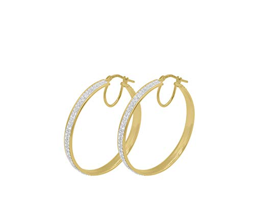 Amata Fine Jewelry 18K Yellow Gold Plated Sterling Silver Hoop Earrings for Women - Studded with Swarovski Austrian Crystals (30mm Round Hoop)
