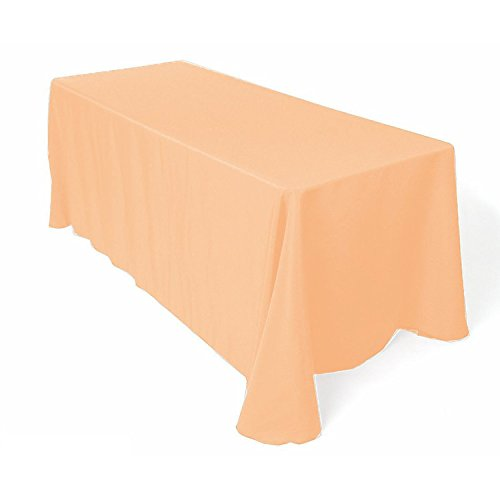 GFCC 90 x 132 -Inch Polyester Oblong Tablecloth Fit for Rectangular Table, 100% Polyester, Peach (Peach Tablecloth Polyester)