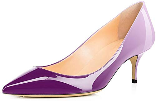 Ayercony Pumps for Woman, Kitten Heel Pumps Pointed Toe Shoes Slip-On High Heel for Dress Office Violet White Size 11 US ()