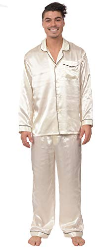 (Reflex Apparel Men's Satin Button Down 2 Piece Pajama Set with Contrast Piping (Cream, X-Large))