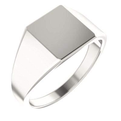 JewelryWeb - Anillo de Plata de Ley de 11 x 10 mm para Hombre Pulido, Rectangular, tamaño V 1/2