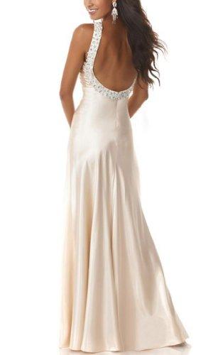 GEORGE Satin Schulter Gewebe Seitenschlitz elastische mit Ein BRIDE Rosa Halfter Abendkleid 6qxar6Y