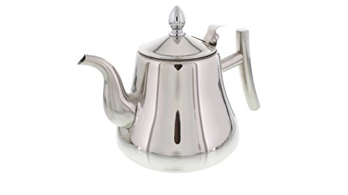 Cheftor 68-oz/2-Liter Polished Stainless Steel Teapot Kettle pot with Tea Infuser Filter for Home Kitchen, Restaurant or Office, Pointy shape