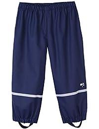 Hiheart Girls Boys Cotton Lined Reflective Waterproof Rain Pants,Navy,3t